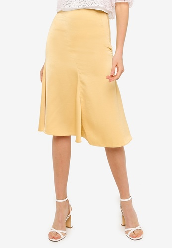 URBAN REVIVO yellow Woven Midi Skirt FB8C1AA6E022C4GS_1