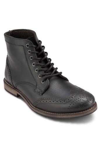 Salute esprit outlet布洛克沖孔雕花皮革短靴, 鞋, 鞋
