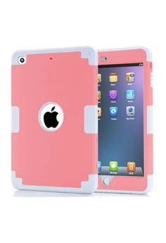 Shockproof Dual Layer Rugged Armor Case for iPad mini 4 - Pink/Grey