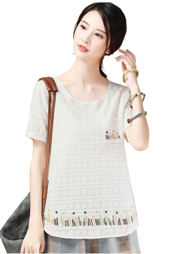 A-IN GIRLS white Fashion Embroidered Short-Sleeved T-Shirt 4719EAA939124AGS_1
