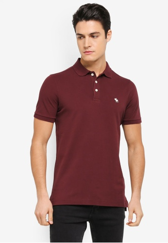 Abercrombie & Fitch red Short Sleeve Icon Polo Shirt AB423AA0SUZWMY_1