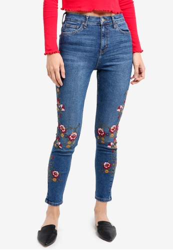 TOPSHOP blue Moto Embroidered Jamie Jeans 15CAFAA8EF291DGS_1