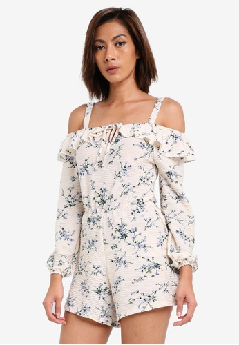 TOPSHOP white Cold Shoulder Playsuit TO412AA0SLD2MY_1
