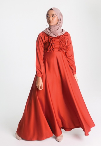 Zaryluq red Ruffle Dress in Terracotta Red 2E392AA4DEAEFAGS_1