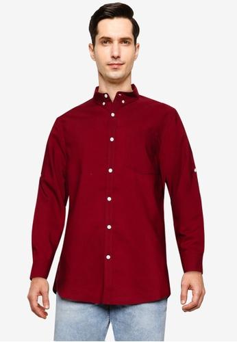 ZALORA BASICS red Long Sleeve Collar Shirt 3C892AAA0280C4GS_1