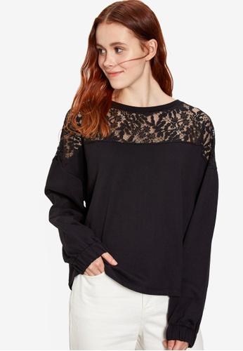 LC WAIKIKI black Lace Detailed Sweatshirt 3955BAA2CD9B21GS_1