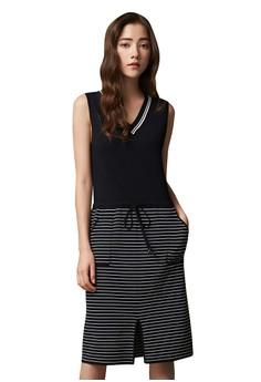 【ZALORA】 OUWEY歐薇 簡約條紋針織背心洋裝