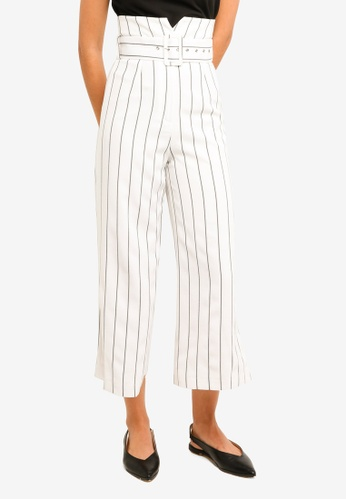 MDSCollections white Aerin High Waisted Pants In White Stripes 93FD1AA1172D12GS_1