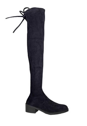 Twenty Eight Shoes 黑色 VANSA 4.5cm 羊絨腳形線條矮跟過膝靴 VSW-B188 D10AFSH6C08603GS_1