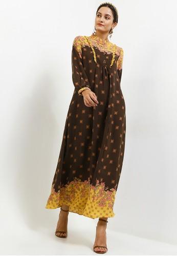 Kamilaa by Itang Yunasz brown Gamis Etnik 79ED4AA5AF1E53GS_1