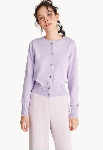 Pomelo purple Silver Metal Button Cardigan - Purple 9E484AA013CCECGS_1