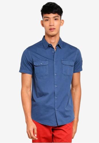 OVS 藍色 短袖口袋襯衫 FF4ACAA131A040GS_1