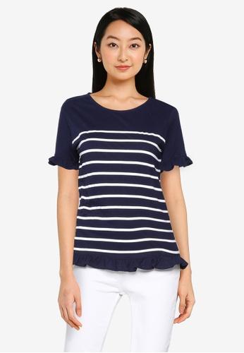 Springfield blue Printed Flounced T-Shirt FD93BAAE959E97GS_1
