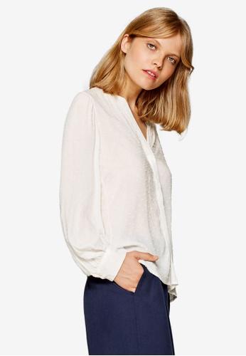 ESPRIT white Woven Long Sleeve Blouse 0339CAAC5C1F5DGS_1