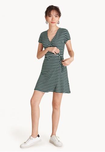 Pomelo green V-Neck Striped Wrap Dress - Green B9AC3AAC977122GS_1