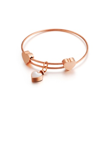 Glamorousky silver Fashion Simple Plated Rose Gold Heart Shaped 316L Stainless Steel Bangle 48F43AC79809E7GS_1