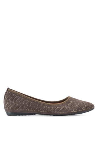 Louis Cuppers 褐色 Zig Zag Embroidered Ballerinas LO977SH44XQXMY_1