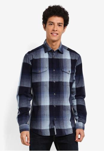 ESPRIT navy Woven Long Sleeve Shirt 34404AAFA2C693GS_1