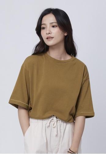 純棉跳色縫線上zalora 台灣門市衣, 服飾, T恤