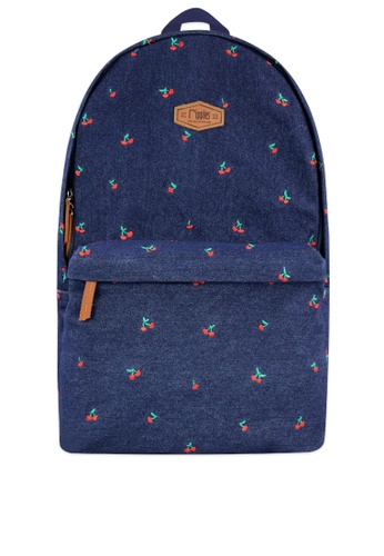 Ripples blue Cherry Embroidery Denim Backpack 11F85ACA35048DGS_1