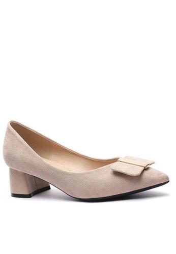 Twenty Eight Shoes 尖頭方扣絨面高踭鞋999-44 61177SH535A585GS_1