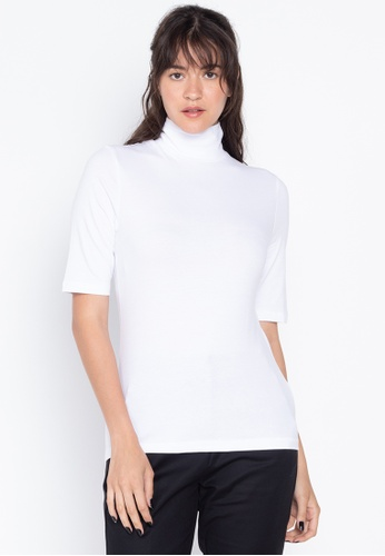 MARKS & SPENCER white High Neck Short Sleeve Fitted T-Shirt 21990AA1049F7CGS_1