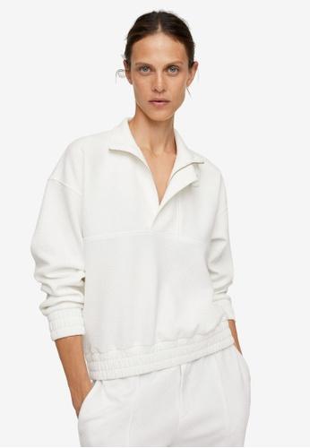 Mango white Funnel Neck Sweatshirt D6DFDAA8DADB3FGS_1