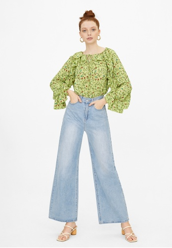 Pomelo green Oversized Ruffled Sleeve Blouse - Green D80FCAA86A2FE8GS_1