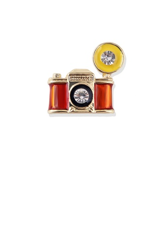 Glamorousky white Fashion Vintage Plated Gold Camera Brooch with Cubic Zirconia 6FF22ACE8F0025GS_1
