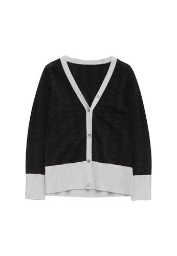 KLAPS 黑色 美麗諾羊毛鏤空針織外套 B5562AACCE3B76GS_1