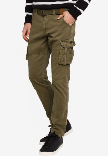 Indicode Jeans green William Belted Cargo Pants 1A7A3AA60CDEA3GS_1