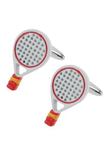 CUFF IT white White Enamel Tennis Racquets Cufflinks CU047AC79BROHK_1