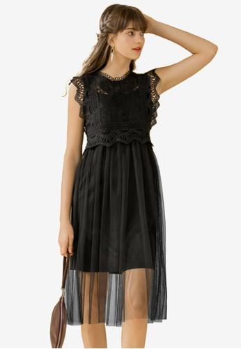 Eyescream black Lace And Mesh Midi Dress 6CC8DAA2A7DC62GS_1