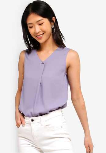 63869d88 Buy ZALORA BASICS Basic Bar Details V-Neck Top Online on ZALORA Singapore