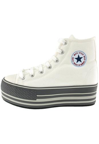 Maxstar 白色 新款韩国鞋C57-Line時尚帆布布混合女白色 US Women Size MA345SH61HGGTW_1