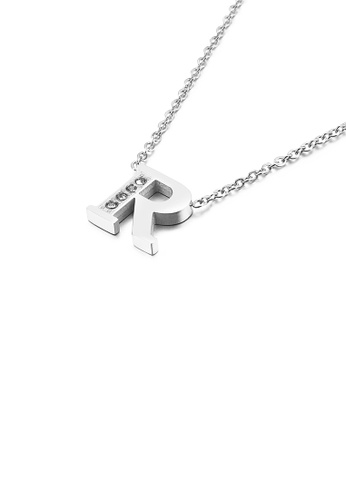 Glamorousky white Fashion Personality English Alphabet R 316L Stainless Steel Pendant with Cubic Zirconia and Necklace 83CAEAC8E1A4E8GS_1