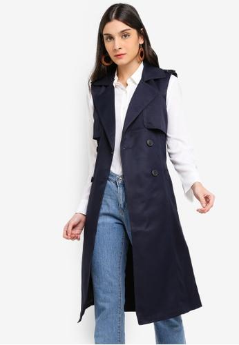 Vero Moda navy Spice Long Waist Coat 04AC8AA2E26E18GS_1