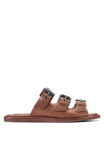 TOPSHOP brown Famous Studded Sandals TO412SH28RHBMY_1