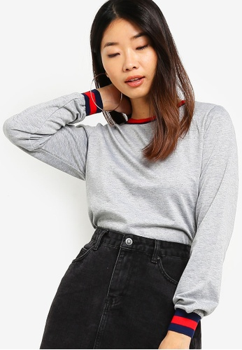 Something Borrowed grey Contrast Rib Sweater 8C75CAAA909512GS_1