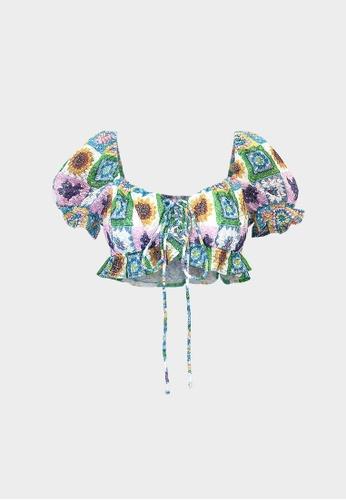 Pomelo multi Crochet Short Sleeve Blouse -  Multi Color 971F6AA4CA5408GS_1