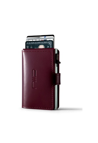 NIID red Anti Scratch ‧RFID‧Automatic Leather Mini Wallet - Wine 26935AC258073DGS_1
