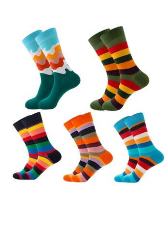 Kings Collection blue Set of 5 Pairs Stripes Cozy Socks (EU38-EU45) (HS202106-10) 81657AA75AD653GS_1