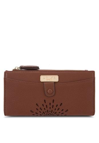 Unisa brown Unique Perforated Facile Long Bi-Fold Wallet UN821AC73EJQMY_1