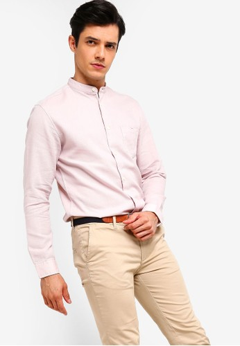 Selected Homme pink Stand Collar Shirt BF91EAAD9DC481GS_1