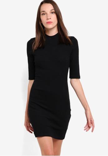 ZALORA black Basic High Neck Bodycon Dress 1929CAA6270704GS_1