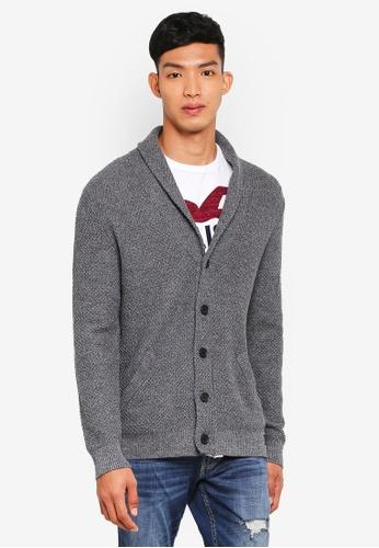Hollister 灰色 翻領針織罩衫 36063AA24E7D87GS_1