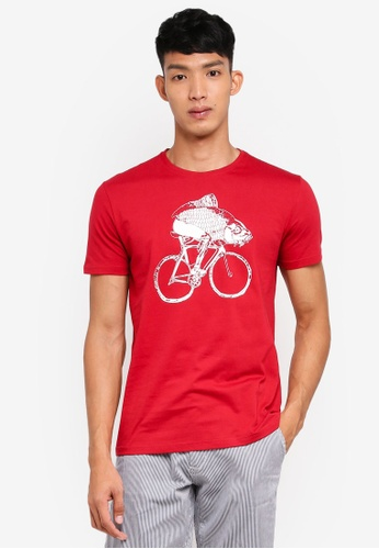 OVS red Front Print Tee 37385AA541796DGS_1