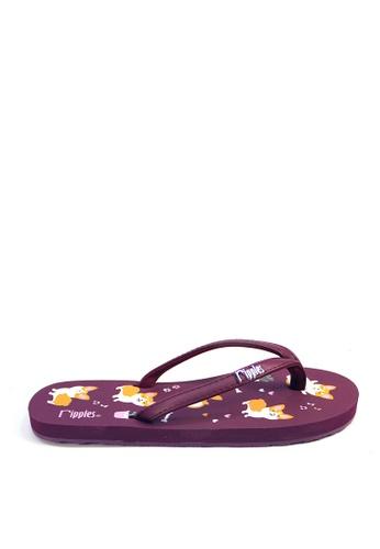 Ripples purple Corgi Dog Flip Flops DD452SH5786D60GS_1
