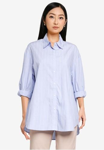 Forever New blue Denver Oversized Cotton Shirt D1414AA3AF71A0GS_1