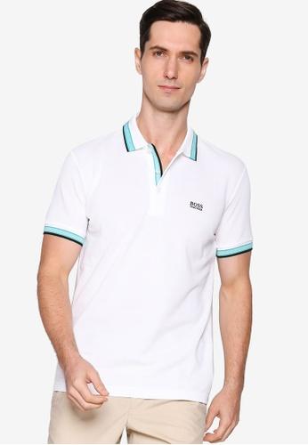 BOSS white Paddy Polo Shirt 96394AA6B6CD71GS_1